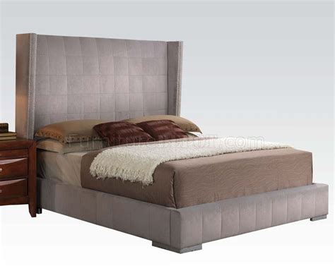 bedroom by acme w gray velvet bed optional items