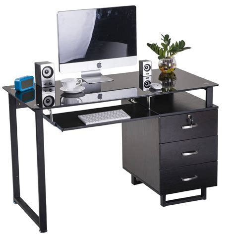 large glass computer desk office desk with keyboard tray