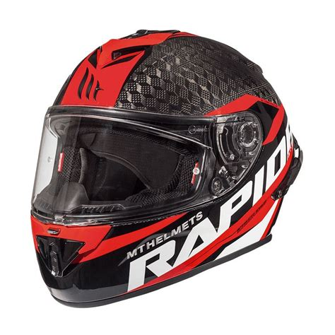 mt kask rapide pro karbon motosiklet kaski kirmizi siyah
