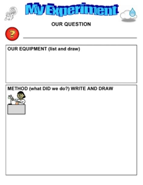 template for science experiment experiments and investigations teaching ideas