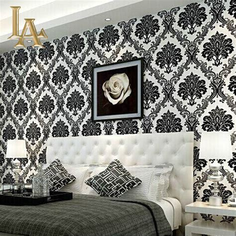 wallpaper home decor modern european embossed flocking black damask wallpaper 3d