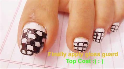 easy nail art design for feet easy block nail art tutorial for beginners cute polish