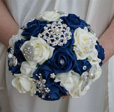 Bridal Posy by Bridal Posy Bouquet Navy Blue And Ivory Roses With