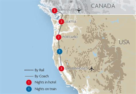 san francisco vancouver map west coast usa escorted tours great rail journeys