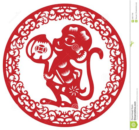 new year paper cutting template monkey paper cut monkey stock vector image 59811766
