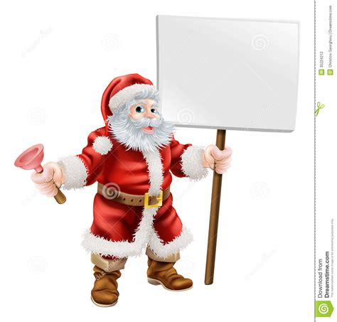 Santa Plumbing by Santa Holding Plunger And Sign Stock Photography Image