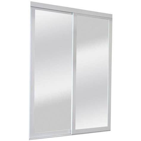 Sliding Mirror Closet Doors Lowes Shop Reliabilt Mirror Panel Mirror Pine Sliding Closet Interior Door Common 60 In X 80 In