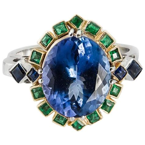 Blue Sapphire 4 7ct diz design 18kgold tanzanite 4 7ct sapphire 0 18ct emerald