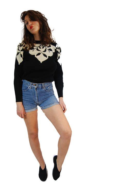 shorts vintage 1970 80 doovi 1980 vintage sweater black vintage knitted sweater from
