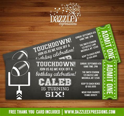printable chalkboard football ticket birthday invitation