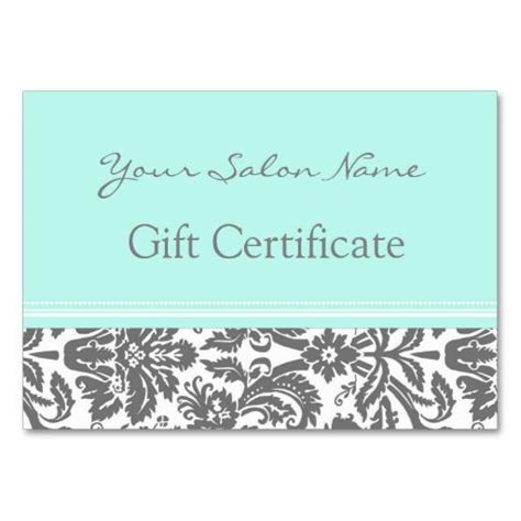 salon gift certificate template salon gift certificate aqua grey damask gifts business