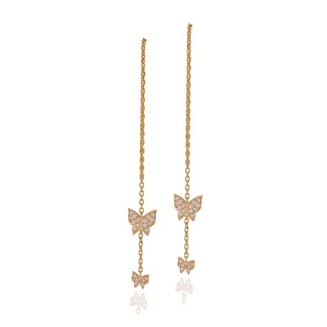 butterfly chain earrings earrings
