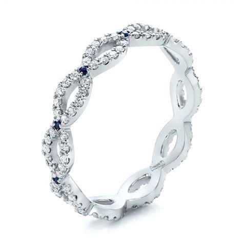 custom diamond  blue sapphire wedding band