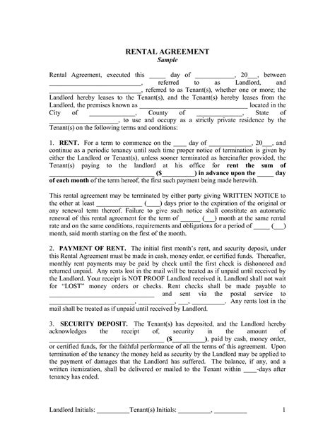 landlord tenancy agreement template best photos of printable rental agreement template