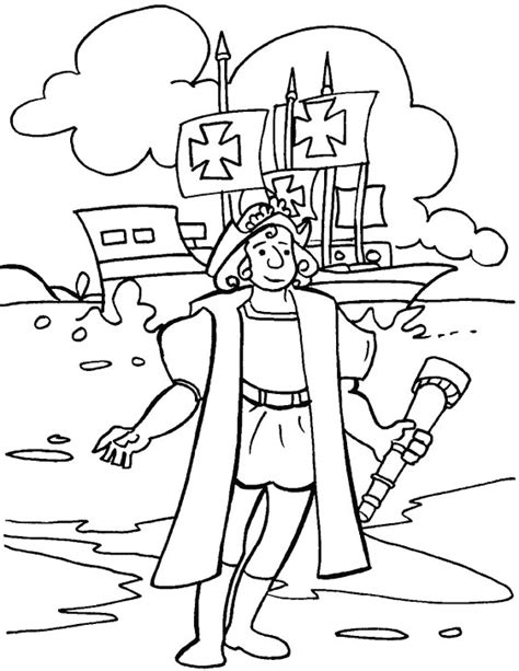 Christopher Columbus Coloring Pages Printable by Christopher Columbus Day Coloring Page Free