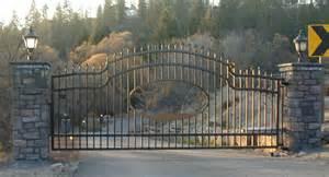 ornamental iron automatic single swing drive gates gallery 1