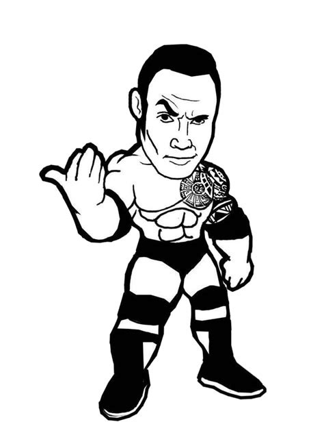 wwe the rock coloring pages