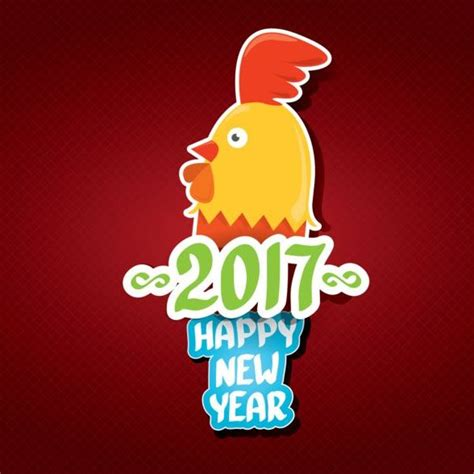 new year for rooster 2016 new year 2017 of rooster sticker vector 09 free