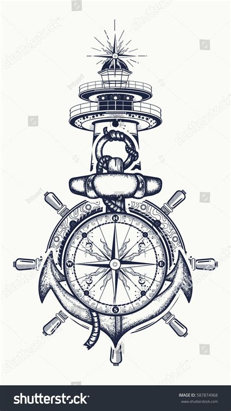 anchor and wheel tattoo designs anchor steering wheel compass lighthouse
