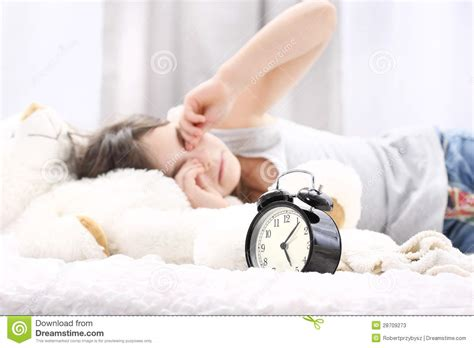 wake up everybody no more sleeping in bed wake up girl stock photos image 28709273