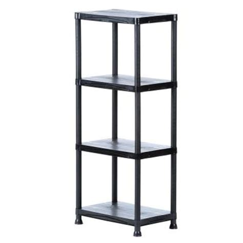 home depot decorative shelving 4 shelf 14 in d x 22 in w x 52 in h black plastic