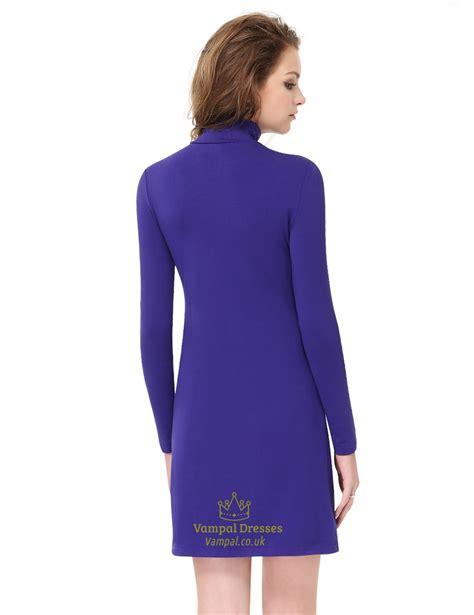 Alycia Comfy Longsleeve Blouse simple s royal blue high neck collar sleeve
