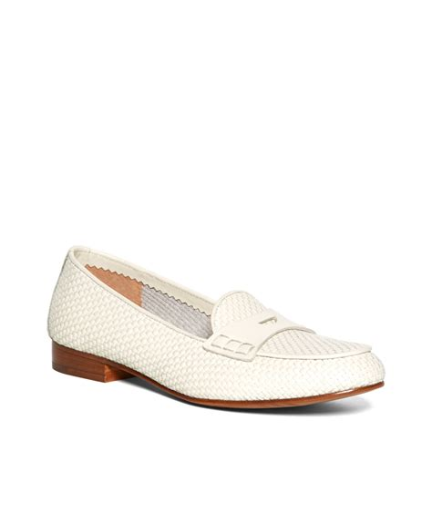 white loafers brothers woven calfskin loafers in white lyst