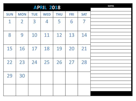printable calendar 2018 to write on april 2018 calendar printable free site provides