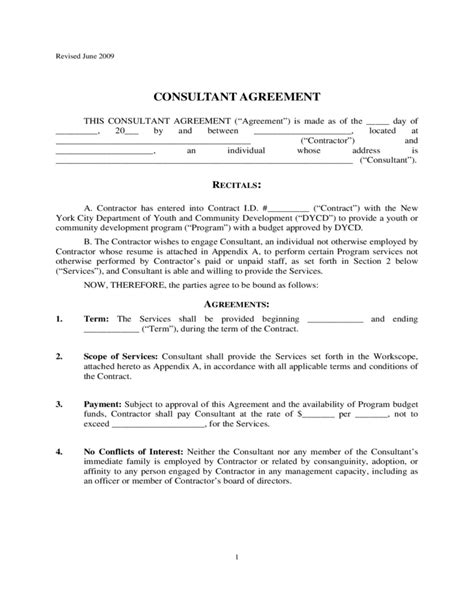 consultant contract agreement new york city free download