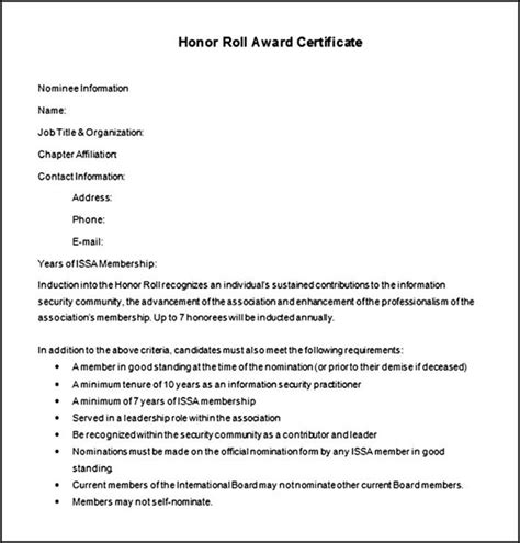 free honor roll award certificate template word sle