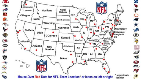 map usa football teams nfl team locations national football league where teams play