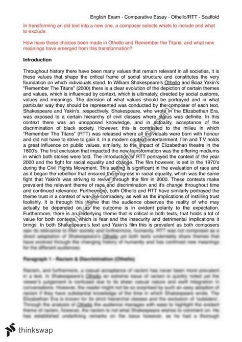 Advanced Essays by Othello Comparative Essay Advanced Year 11 Hsc Advanced Thinkswap