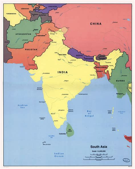 south asia countries map large detailed political map of south asia 1998