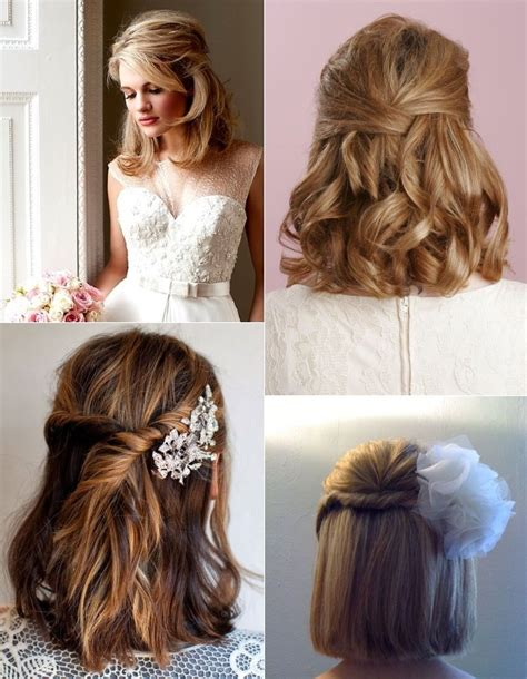 Wedding Hairstyles Half Up Half Down For Short Hair | 9 short wedding hairstyles for brides with short hair