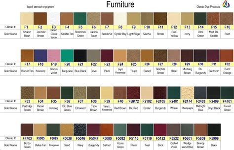 furniture colors leather dye color chart for furniture