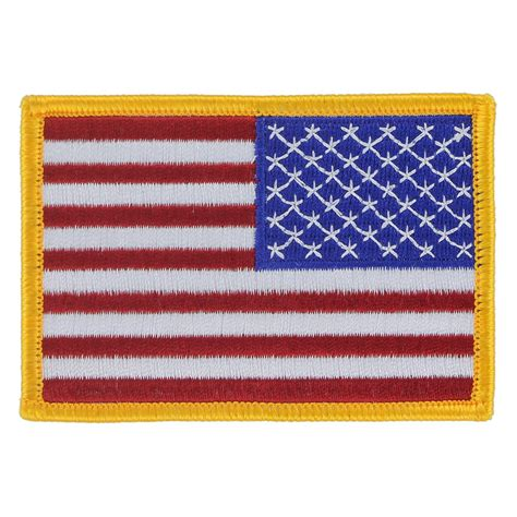 american flag patch gold border right field