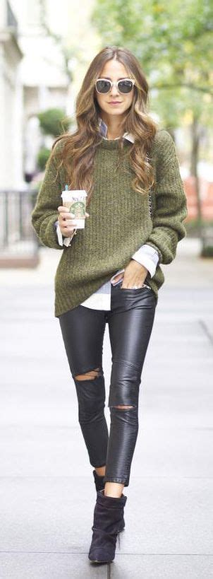 olive green sweater  tight black pants pictures