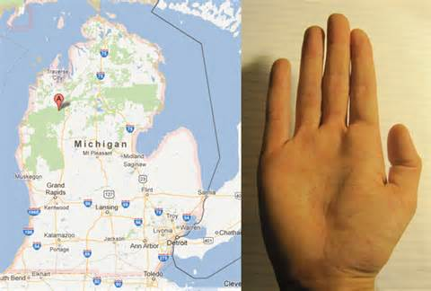 Michigan Hand Map by Your Body Is A Wondermap Citylab