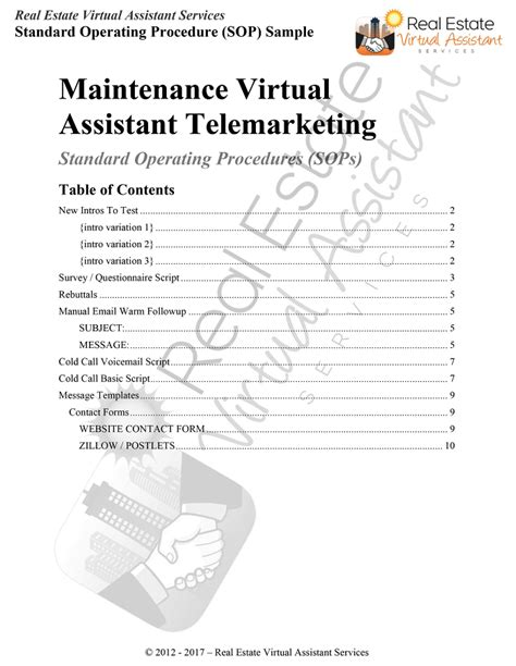 Standard Operating Procedures Real Estate Virtual Assistant Services Revas Insurance Agency Procedure Manual Template
