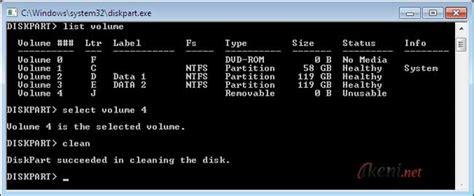 format flashdisk lewat diskpart diskpart format