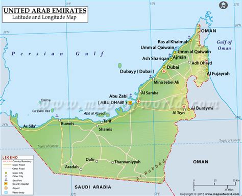 dubai geography map geographical map of uae arab emirates latitude and
