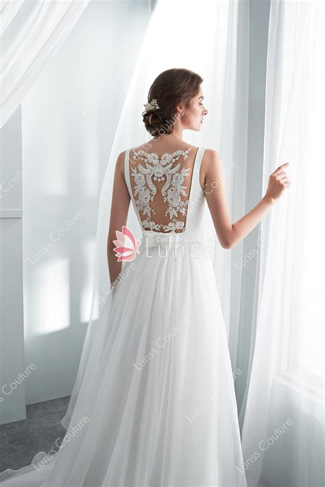 ivory long   wedding dress  sheer lace  lunss