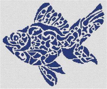 tribal pattern handstitched white willow stitching tribal fish cross stitch pattern