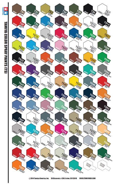 tamiya color chart tamiya color spray ts 100ml
