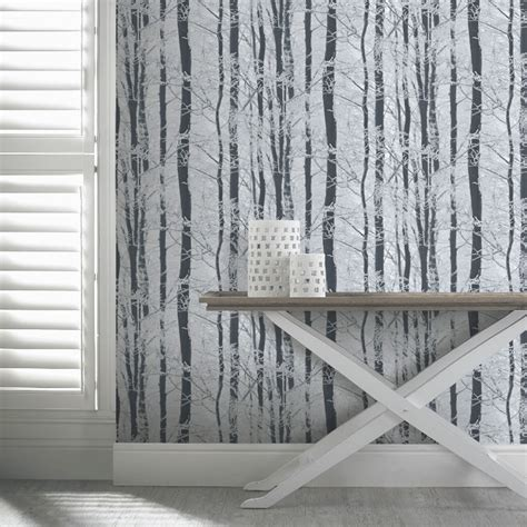 tree wallpaper for walls uk arthouse frosted wood forest pattern trees glitter