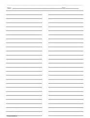 free printable lined paper with columns ruled paper with two columns freebies printables