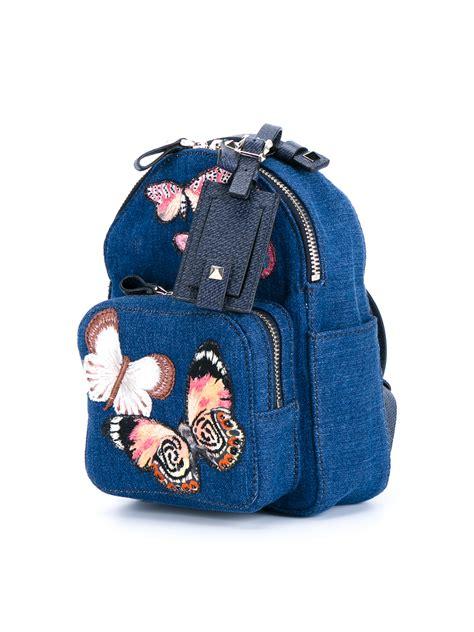 Kammaya Mini Backpack Blue Buteterfly lyst valentino butterfly denim backpack in blue
