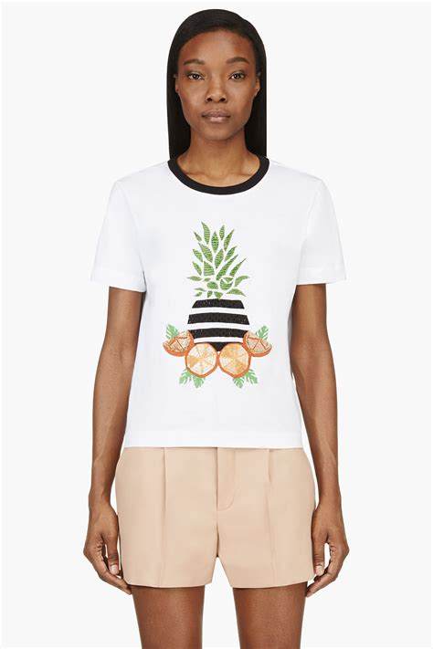 T Shirt Pearl White of pearl white embellished fruit t shirt