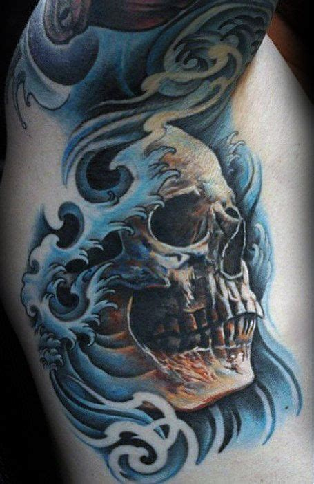 awesome under arm mens rib cage side japanese skull water