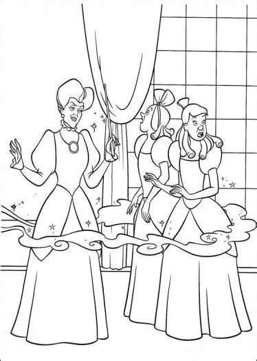 cinderella stepsisters coloring coloring pages